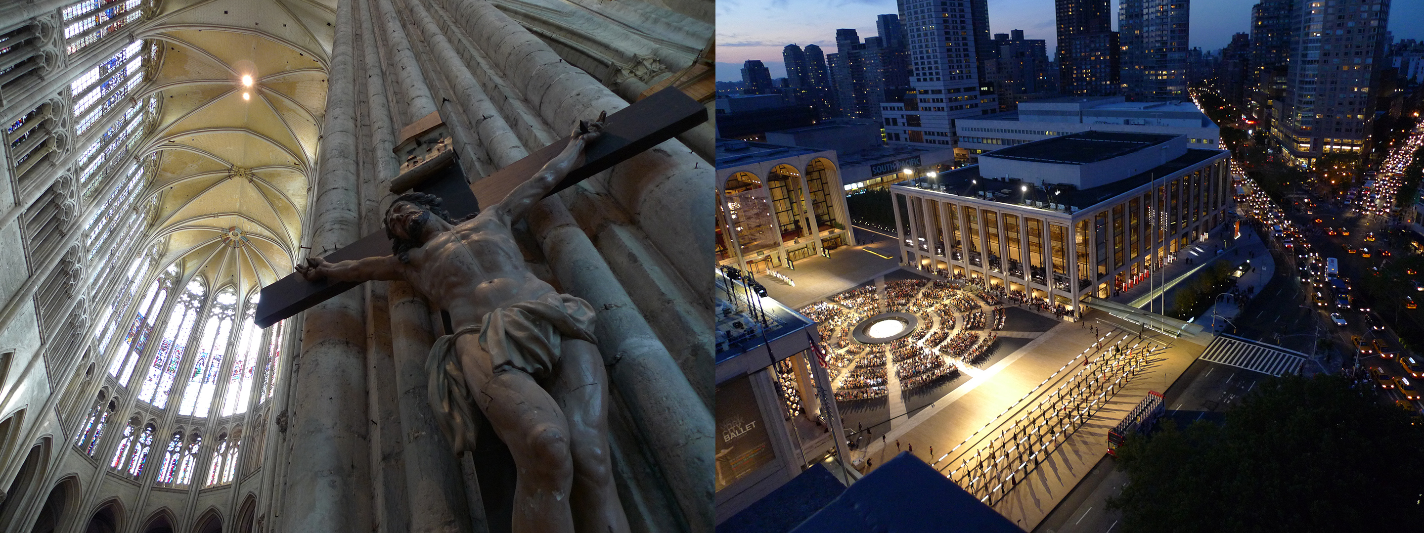 "Still from PBS NOVA's ""Building the Great Cathedrals"" and an image looking down on Lincoln Center"